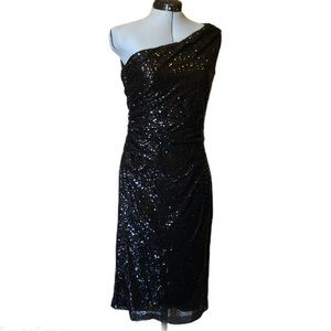 Ralph Lauren Black One Shoulder Sequin Dress, 12